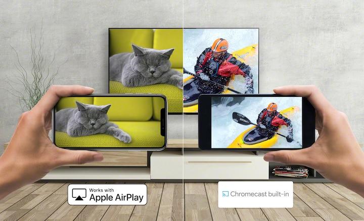 Slika na kojoj se prikazuje prijenos sadržaja s pametnog telefona na televizor: